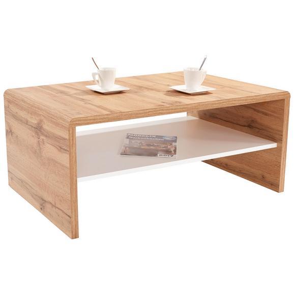 Măsuţă Cala Luna - alb/culoare lemn stejar, Modern, compozit lemnos (100/40/59cm)