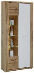 Vitrine Weiß/Eichefarben - Eichefarben/Silberfarben, KONVENTIONELL, Glas/Holzwerkstoff (91/198/35cm) - Modern Living