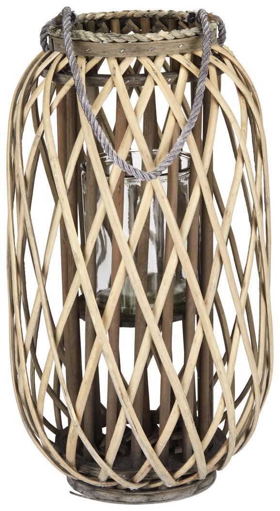 Laterne Lilian Grau - Grau, Basics, Glas/Holz (28/50cm)