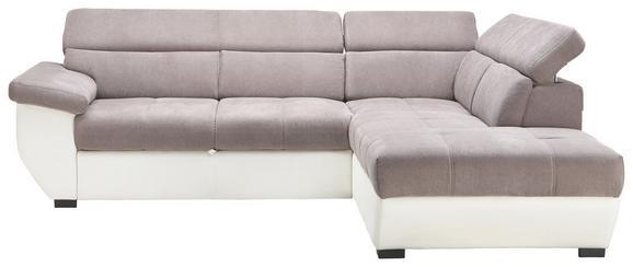 Wohnlandschaft Grau/Weiß Bettfunktion - Weiß/Grau, KONVENTIONELL, Textil (262/224cm) - Modern Living