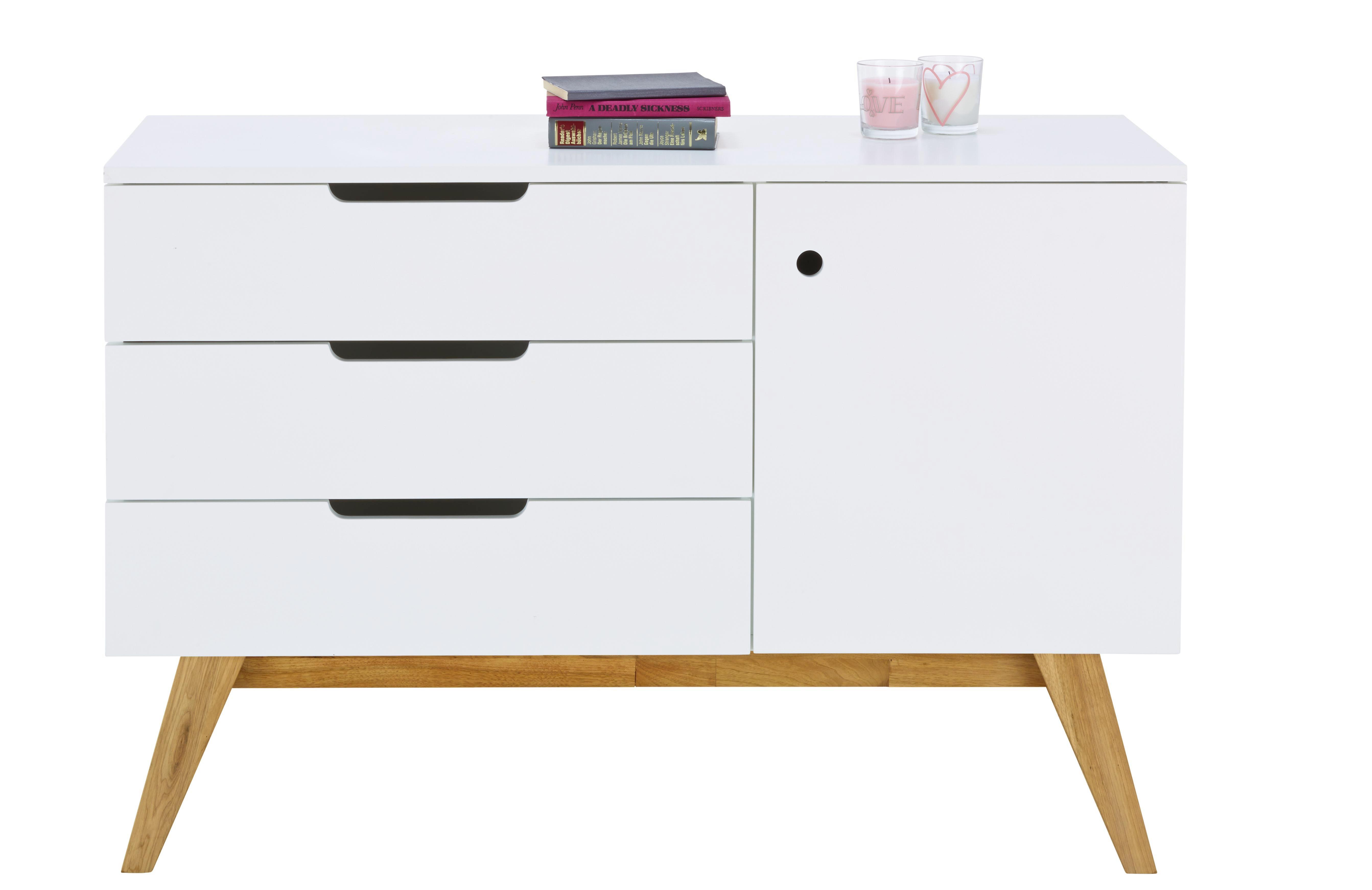 Sideboard in Natur/Weiß - Naturfarben/Weiß, Design, Holz/Holzwerkstoff (120/80/45cm) - ZANDIARA