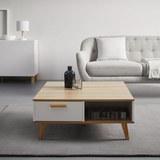 Couchtisch in weiß/eichefarben ca.79x83cm ''Claire'' - Eichefarben/Weiß, MODERN, Holz (79/83/34cm) - Bessagi Home