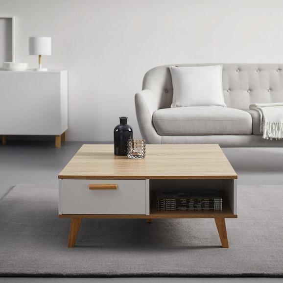 Couchtisch in Weiß/Eichefarben ca.79x83cm 'Claire' - Eichefarben/Weiß, MODERN, Holz (79/83/34cm) - Bessagi Home