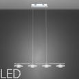 LED-Hängeleuchte max. 20 Watt 'Palu' - Chromfarben, Glas/Metall (90/16,5/120cm) - Bessagi Home