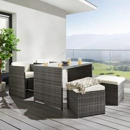Gartenset Marietta inkl. Auflagen & Rückenkissen - Naturfarben/Grau, MODERN, Glas/Kunststoff - MODERN LIVING