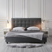 Polsterbett Frederico 180x200cm - Schwarz/Grau, MODERN, Textil (189/113/215cm) - Mömax modern living