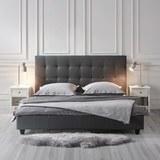 Polsterbett Frederico ca.180x200cm - Grau, MODERN, Holz/Textil (215/189/113cm) - Bessagi Home