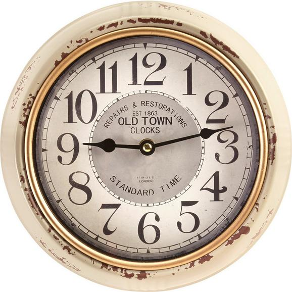 Uhr Baci in Weiss antik ca.Ø24,5cm - Hellgrau/Schwarz, MODERN, Glas/Papier (24,5cm) - Bessagi Home