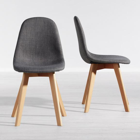 Stuhl Joelyna - Buchefarben/Grau, MODERN, Holz/Textil (44/88/52cm) - Modern Living
