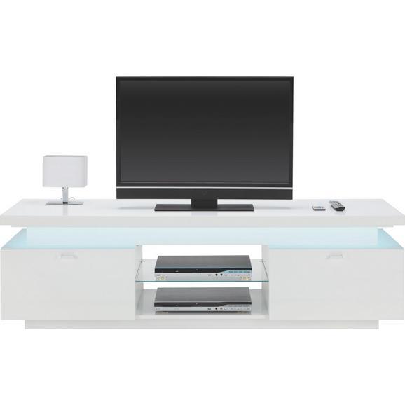 Lowboard in Weiß Hochglanz - Chromfarben/Weiß, MODERN, Glas/Kunststoff (174.8/52/49cm) - Mömax modern living