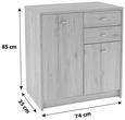 Komoda 4-you - hrast/krom, umetna masa/leseni material (74/85,4/34,6cm) - Mömax modern living