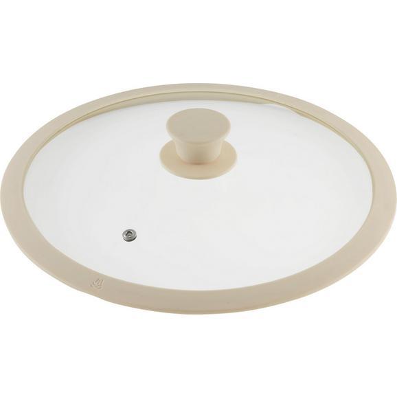 Deckel Marmor Creme - Creme, ROMANTIK / LANDHAUS, Glas/Kunststoff (28cm) - Premium Living