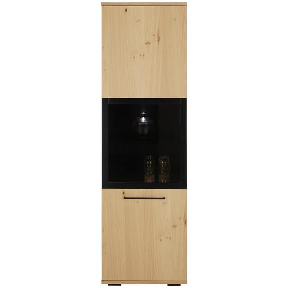 Vitrine in Eichefarben - Eichefarben/Schwarz, LIFESTYLE, Glas/Holzwerkstoff (55/190/43cm) - Zandiara