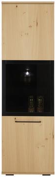 Vitrine Schwarz/Eiche - Eichefarben/Schwarz, LIFESTYLE, Glas/Holzwerkstoff (55/190/43cm) - Zandiara