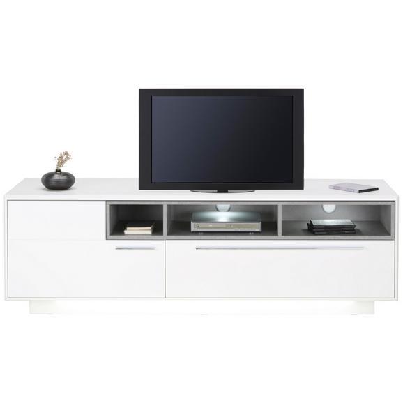 TV-Element in Weiß - Edelstahlfarben/Eichefarben, MODERN, Holzwerkstoff/Metall (176/57/52cm) - Premium Living