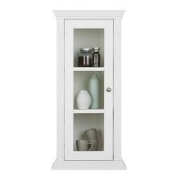 Hängevitrine aus Kiefer Massiv - Zinkfarben/Weiß, ROMANTIK / LANDHAUS, Glas/Holz (50/105/35cm) - Zandiara