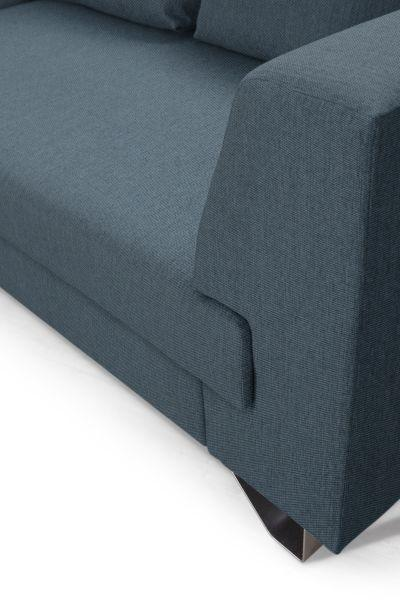 Wohnlandschaft mit Bettfunktion - Silberfarben/Petrol, MODERN, Textil/Metall (196/280cm)