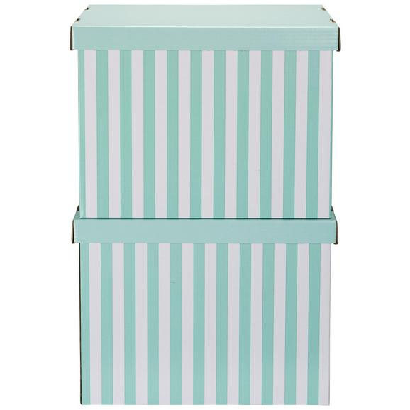 Box mit Deckel Jimmy Grün/Weiß - Weiß/Grün, Karton (44,3/33,5/32,5cm) - Mömax modern living