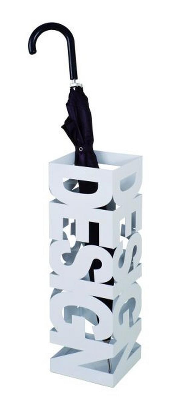 Esernyőtartó Betűmintás - Fehér, modern, Fém (16/48/16cm)