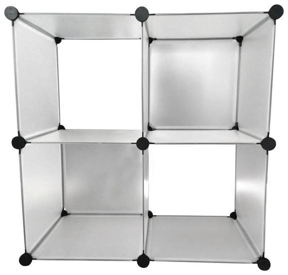 Polc Vicky - áttetsző, modern, műanyag/fém (75/75/37cm)