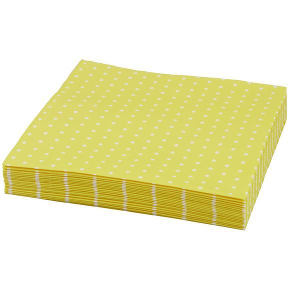 Serviete Mini Dots - rumena/bela, papir (33/33cm)