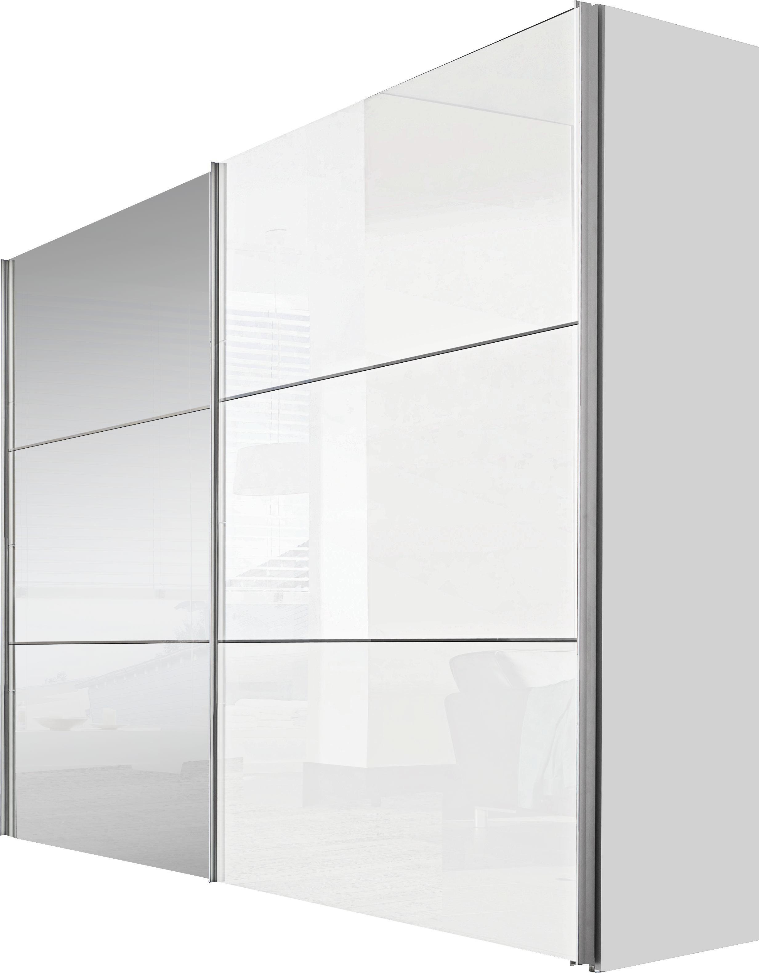 Schwebetürenschrank in Weiß mit Spiegel - Alufarben/Weiß, KONVENTIONELL, Holzwerkstoff/Metall (200/216/68cm) - PREMIUM LIVING