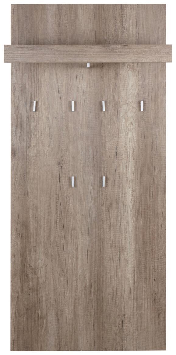 Wandpaneel in Eiche, 6 Haken - Eichefarben, MODERN, Holzwerkstoff (65/147/28cm) - Mömax modern living