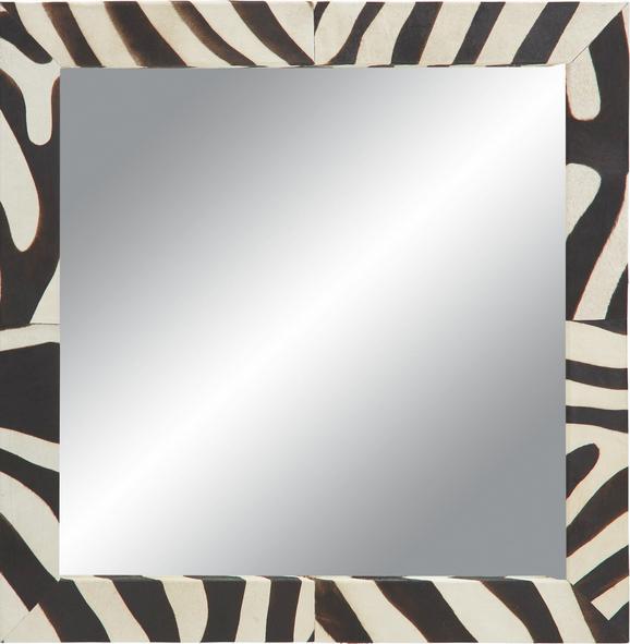 Wandspiegel ca. 101x101x4cm - Schwarz/Weiß, LIFESTYLE, Glas/Leder (101/101/4cm) - PREMIUM LIVING