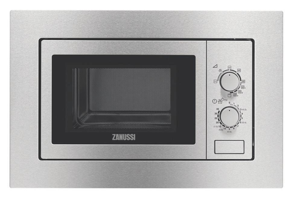 Einbaumikrowelle Zanussi Zsg200100xa, 1000 Watt - Silberfarben, ROMANTIK / LANDHAUS (59,6/38,9/34,3cm) - ZANUSSI
