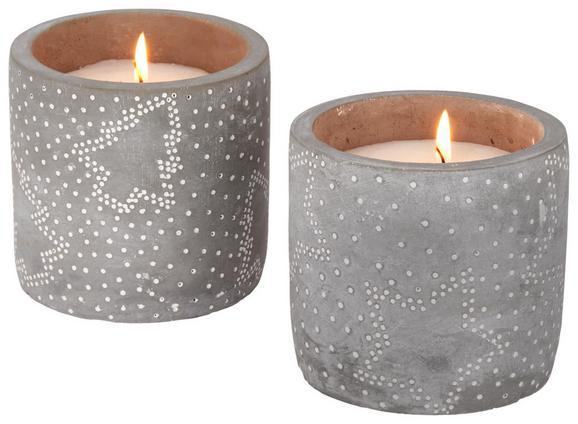 Kerze Im Topf Sascha Verschiedene Motive - Weiß/Grau, Stein (11/10cm)