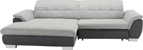 Wohnlandschaft Grau mit Bettfunktion - Chromfarben/Grau, KONVENTIONELL, Textil (180/279cm) - MODERN LIVING