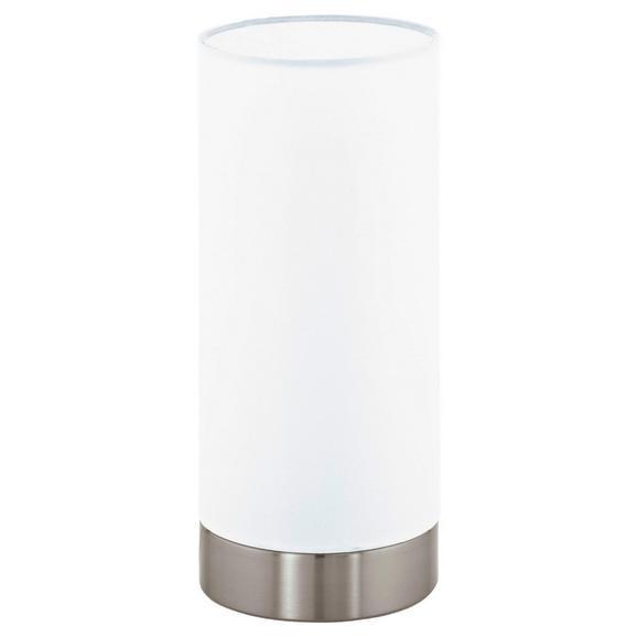 Tischleuchte max. 40 Watt 'Pasteri' - Weiß/Nickelfarben, MODERN, Textil/Metall (12/25,5cm)