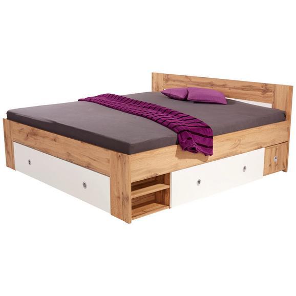 Pat Azzuro 180 - alb/culoare lemn stejar, Modern, compozit lemnos (180/200cm)