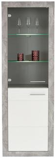 VITRINA MALTA - bijela/siva, Modern, staklo/drvni materijal (63,9/196,6/34,9cm)