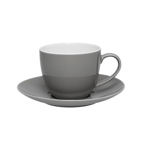 Kaffeetasse mit Untertasse Sandy aus Keramik ca. 250ml - Grau, KONVENTIONELL, Keramik (5/6,9cm)