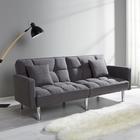 Sofa Jara mit Schlaffunktion inkl. Kissen - Chromfarben/Grau, MODERN, Holz/Textil (195/82/87cm) - Modern Living
