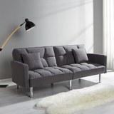 Sofa mit Schlaffunktion in Grau 'Jara' - Chromfarben/Grau, MODERN, Holz/Textil (195/82/87cm) - Bessagi Home
