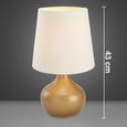 Tischleuchte Astrid - Goldfarben/Weiß, MODERN, Textil/Metall (25/25/43cm) - Bessagi Home