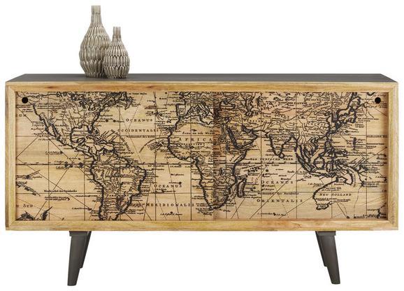 Sideboard Massiv mit Weltkartendesign - Multicolor/Naturfarben, LIFESTYLE, Holz (160/85/45cm) - Premium Living