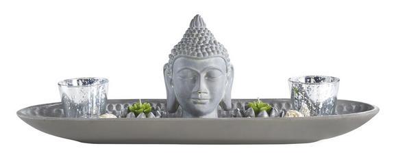 Teelichthalter Simi Grau - Grau, LIFESTYLE, Glas/Kunststoff (55/13,5/18,5cm) - Mömax modern living
