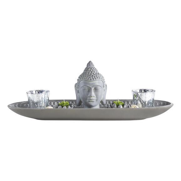 Teelichthalter Simi in Grau - Grau, LIFESTYLE, Glas/Kunststoff (55/13,5/18,5cm) - Mömax modern living