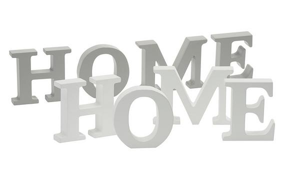 Dekor Betűk Dream, Love, Home - Szürke/Fehér, romantikus/Landhaus, Fa (34,5/8/2cm) - Mömax modern living