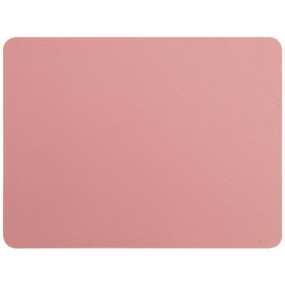Tischset Jette aus Leder in Rosa - Rosa, Leder (33/42cm) - Premium Living