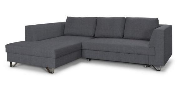 Wohnlandschaft Grau mit Bettfunktion - Dunkelgrau/Silberfarben, MODERN, Textil/Metall (196/280cm)