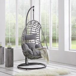 Hängesessel Tamia - Grau, MODERN, Holz/Kunststoff (96/196/96cm) - Modern Living