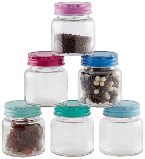Vorratsglas Elli in verschiedenen Farben - Blau/Pink, Glas/Metall (5,5 /6,5 cm)