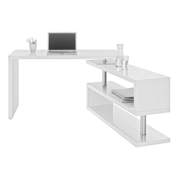 Masă De Birou Matteo - alb/culoare crom, Modern, compozit lemnos/metal (130/76/128,5cm) - Mömax modern living