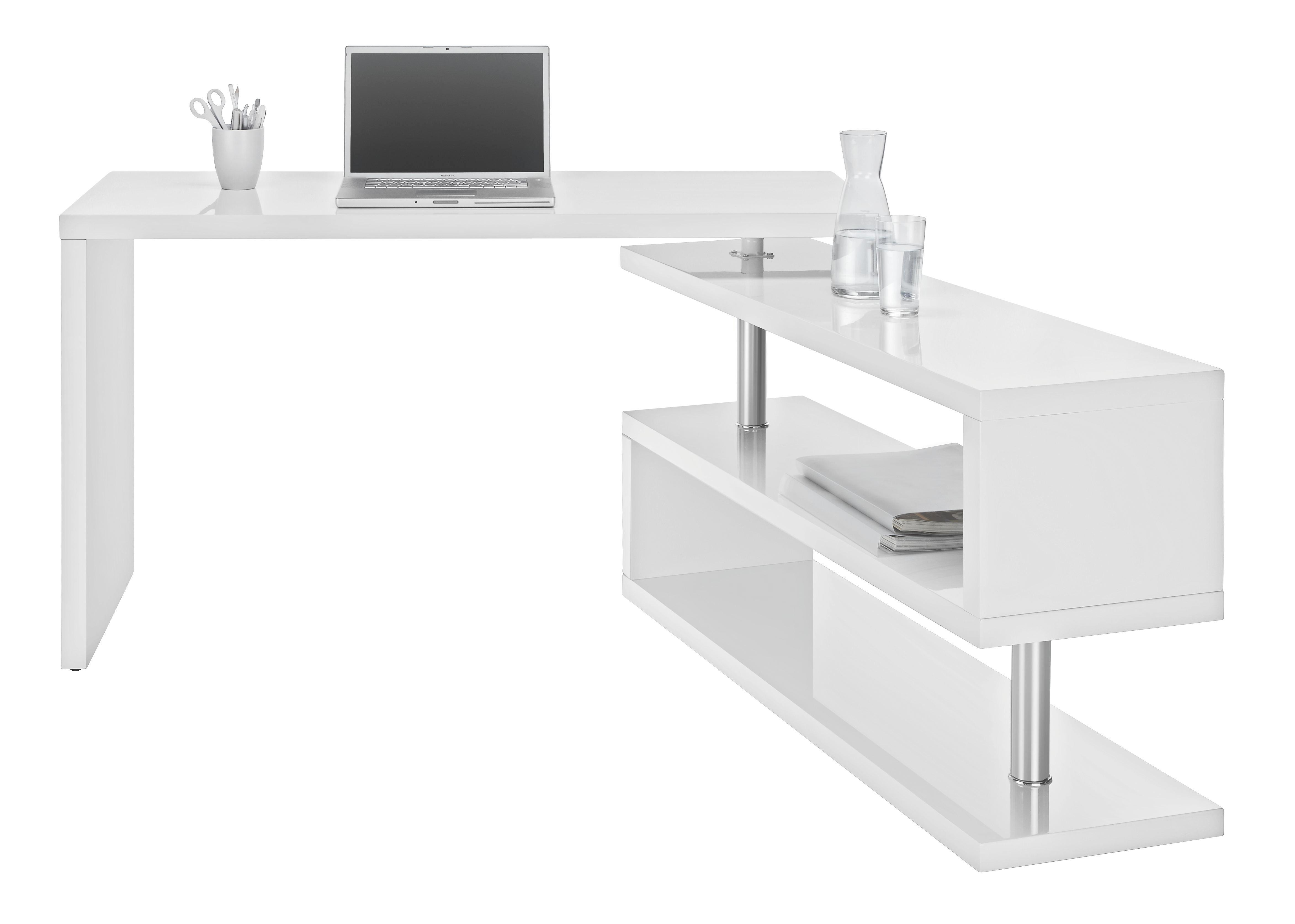 Amazing Schreibtisch In Weiß Hochglanz   Chromfarben/Weiß, MODERN,  Holzwerkstoff/Metall (130 Images
