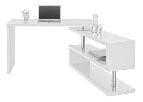Schreibtisch in Weiß Hochglanz - Chromfarben/Weiß, MODERN, Holzwerkstoff/Metall (130/76/128,5cm) - MÖMAX modern living