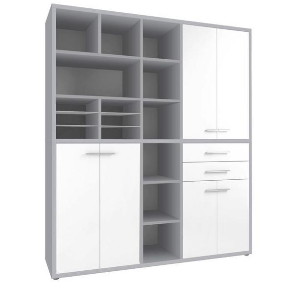 Regalkombination in Grau/platinfarben - Platinfarben/Alufarben, MODERN, Glas/Holzwerkstoff (191,9/216,4/40cm) - Premium Living